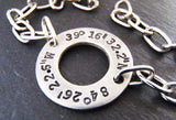 GPS personalized coordinates on an open circle bracelet - Drake Designs Jewelry