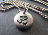 Om tiny pebble necklace - yoga jewelry - Drake Designs Jewelry