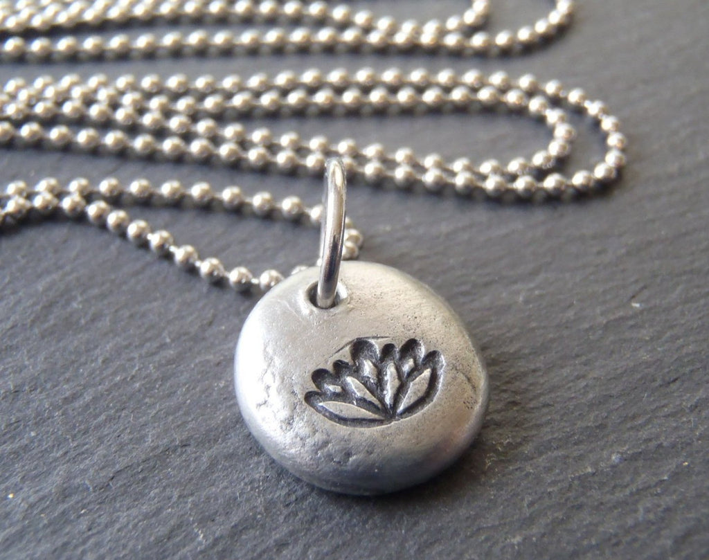 lotus flower necklace tiny pebble water lily jewelry - Drake Designs Jewelry