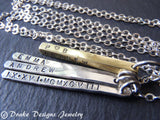 Rustic Mixed metal Mom bar Necklace. Personalized Sterling silver Mother's jewelry - Drake Designs Jewelry
