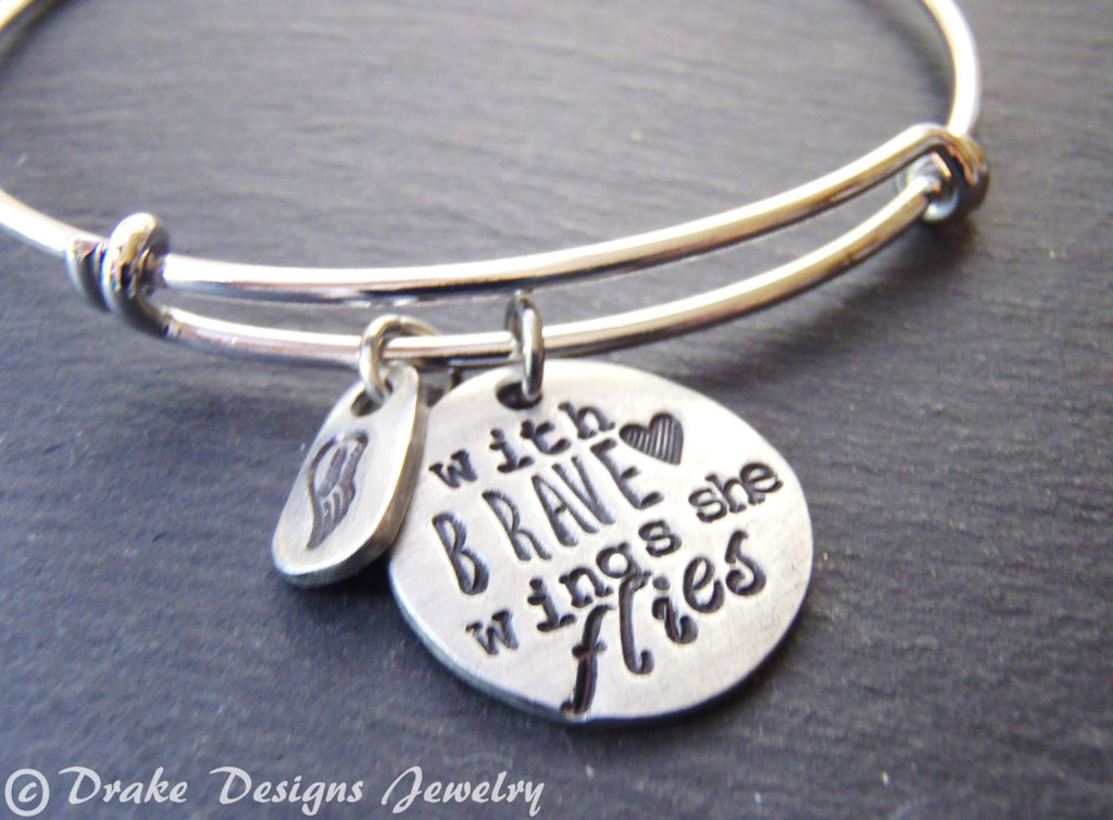 with brave wings she flies personalized graduation gift for her bangle inspirational bracelet - Drake Designs Jewelry