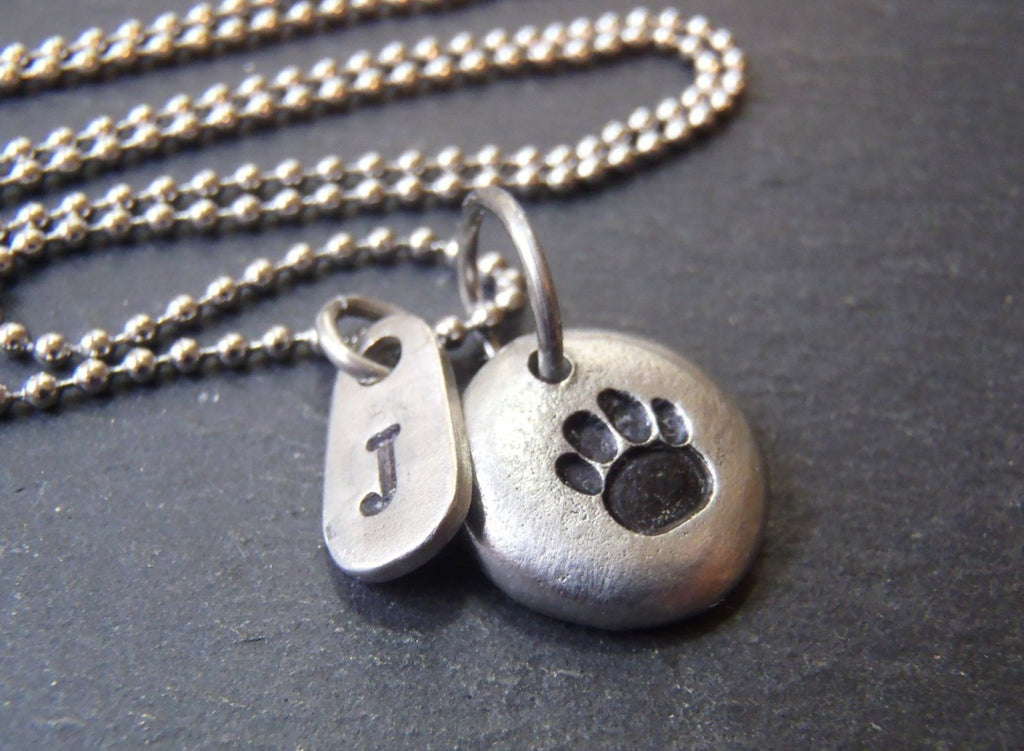 personalized dog paw print necklace-  pet lover gift - Drake Designs Jewelry