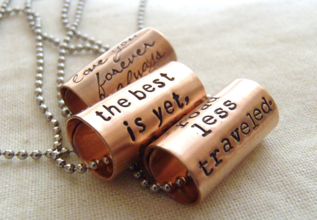 Quote necklace with custom inspirational text - jewelry with a custom message! - Drake Designs Jewelry
