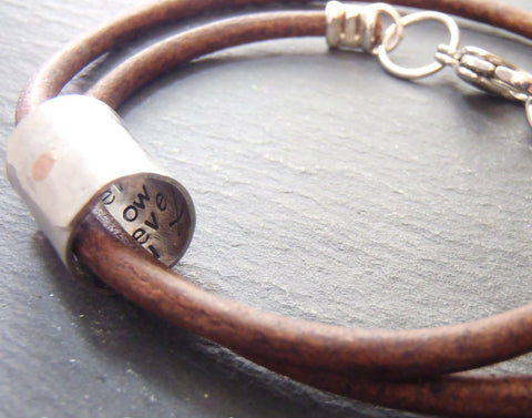 Custom secret message bracelet with your words hidden inside - Drake Designs Jewelry