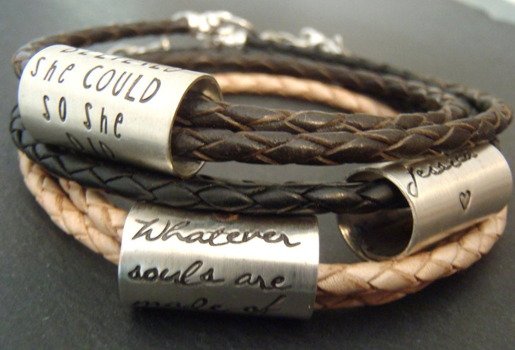 Hand crafted personalized leather bracelet customized with your own inspirational quote - Drake Designs Jewelry