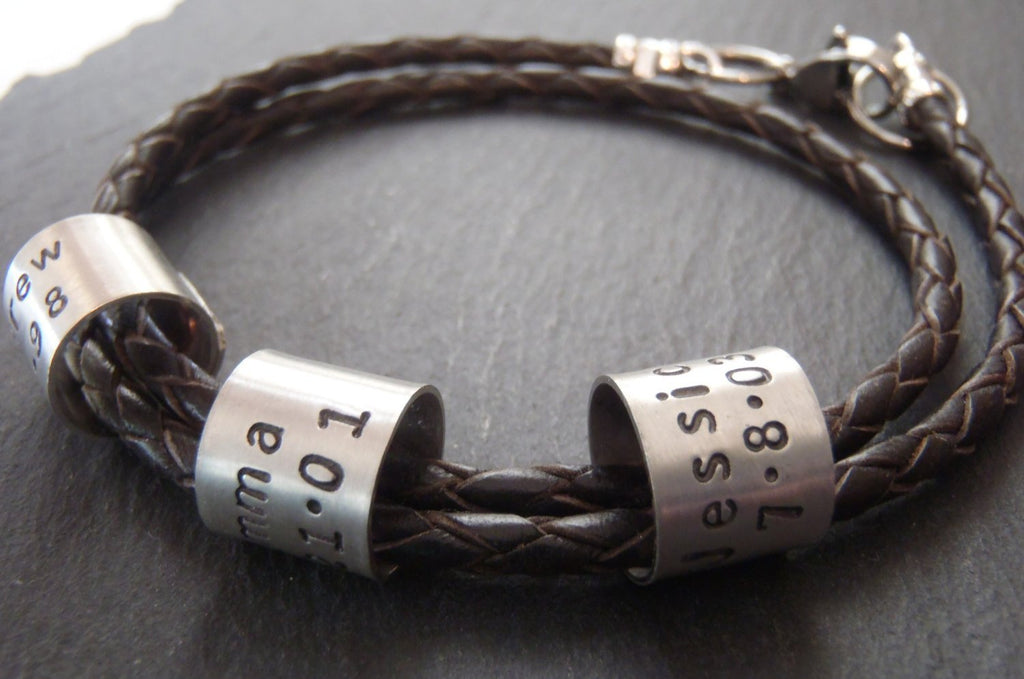 Men's braided leather bracelet for men or women with coordinates, names or custom message - Drake Designs Jewelry