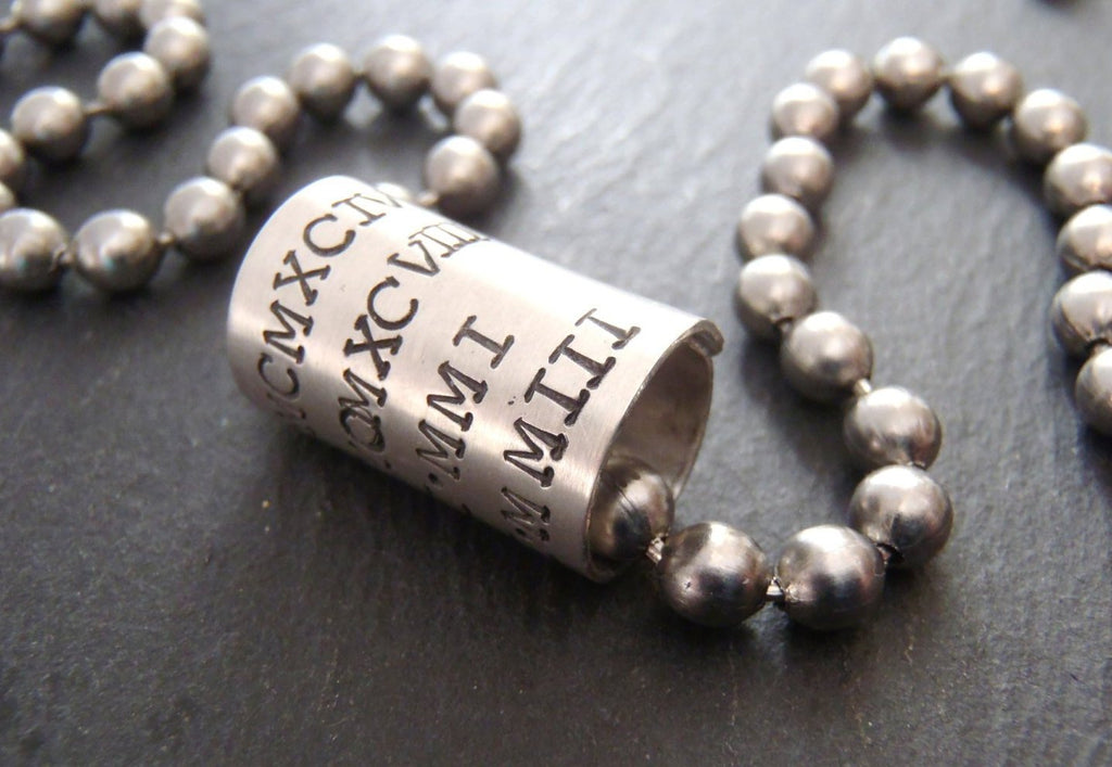Personalized men's necklace with names or dates in Roman Numerals - Drake Designs Jewelry