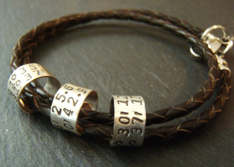 Latitude longitude leather bracelet for men or women personalized with custom coordinates - Drake Designs Jewelry
