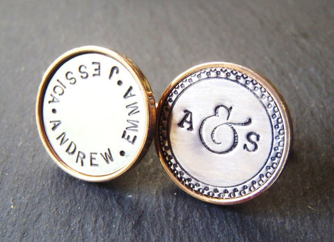 Personalized cufflinks with initials and names - Father's Day gift for husband - Drake Designs Jewelry
