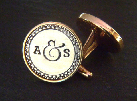 Personalized men's cufflinks with initials in sterling silver and golden bronze - Drake Designs Jewelry