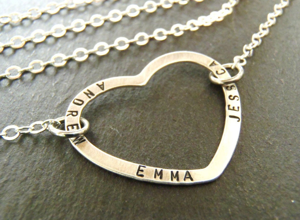 mother's necklace with children's names hand stamped on a sterling silver open heart - Drake Designs Jewelry