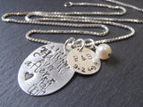 wedding date Personalized fairy tale necklace sterling silver happily ever after - Drake Designs Jewelry