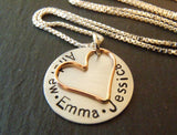 Sterling silver and rose gold fill mom necklace personalized with names - Drake Designs Jewelry