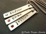 Vertical bar Mothers necklace with children's names and birthstones - Drake Designs Jewelry