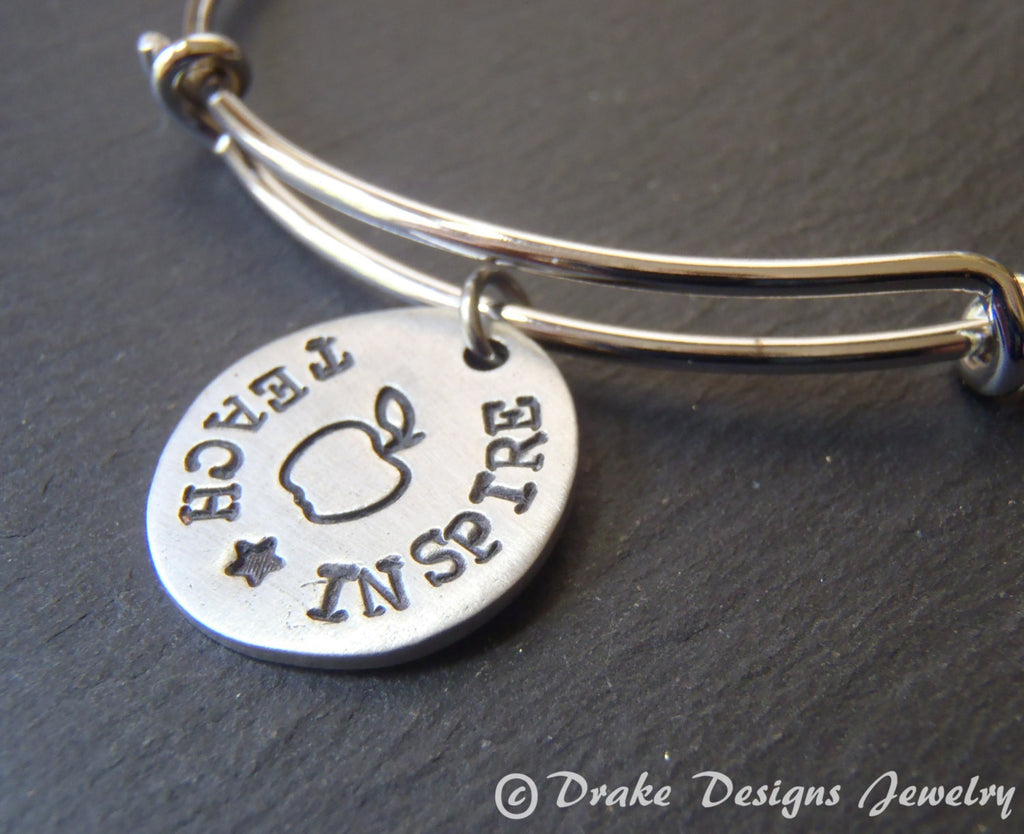 teacher bangle bracelet hand stamped jewelry gift for teacher - Drake Designs Jewelry