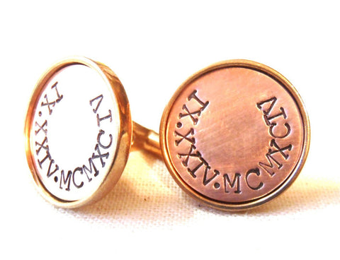 Seventh anniversary gift for men Custom cufflinks with date in Roman Numerals - Drake Designs Jewelry