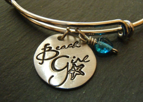 Hand stamped beach girl bangle bracelet - Drake Designs Jewelry