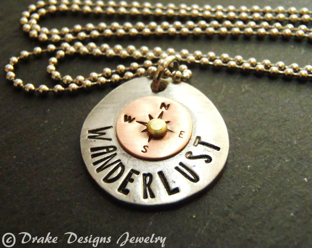 Travel compass necklace wanderlust necklace gifts for traveler wanderlust jewelry mixed metal - Drake Designs Jewelry