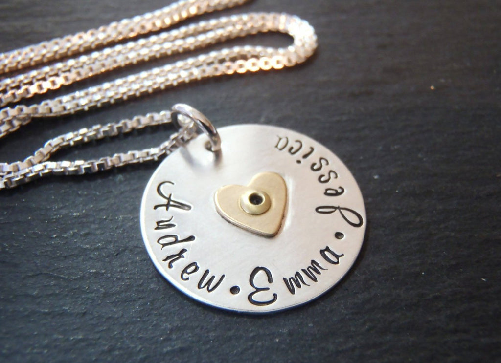 Mom necklace with kids names and golden heart - sterling silver mixed metal - Drake Designs Jewelry