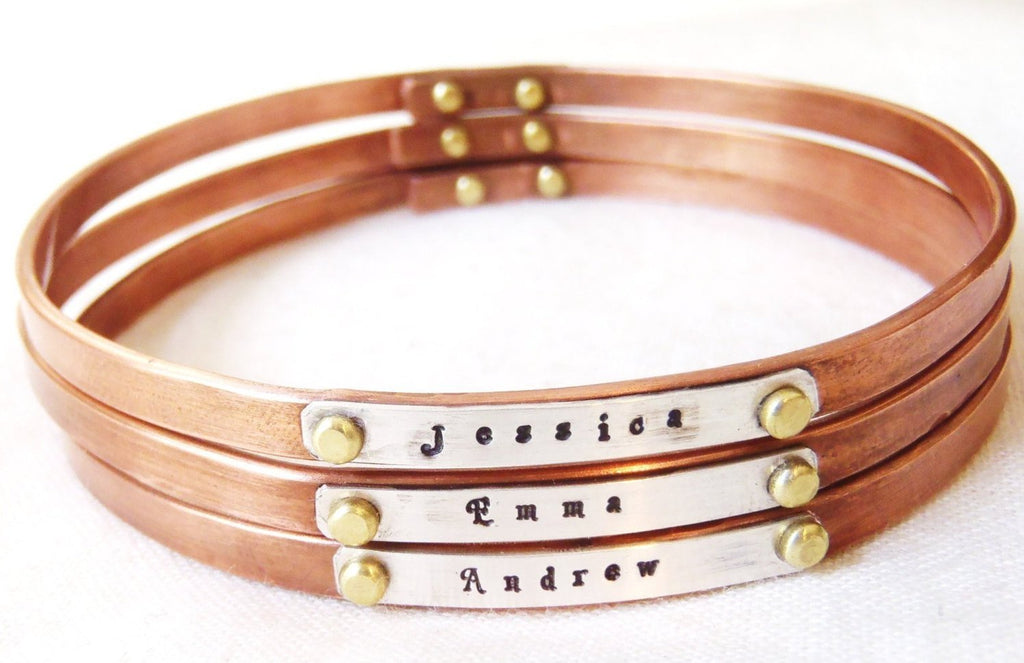 Stacking bangles personalized with names or inspirational words - Drake Designs Jewelry