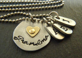 Personalized Mixed metal grandma necklace with golden brass heart and grandchildren's initials - Drake Designs Jewelry