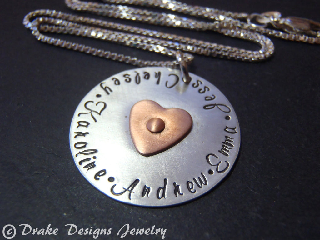 Sterling silver mom or grandma necklace mothers day gift personalized with kids names - Drake Designs Jewelry