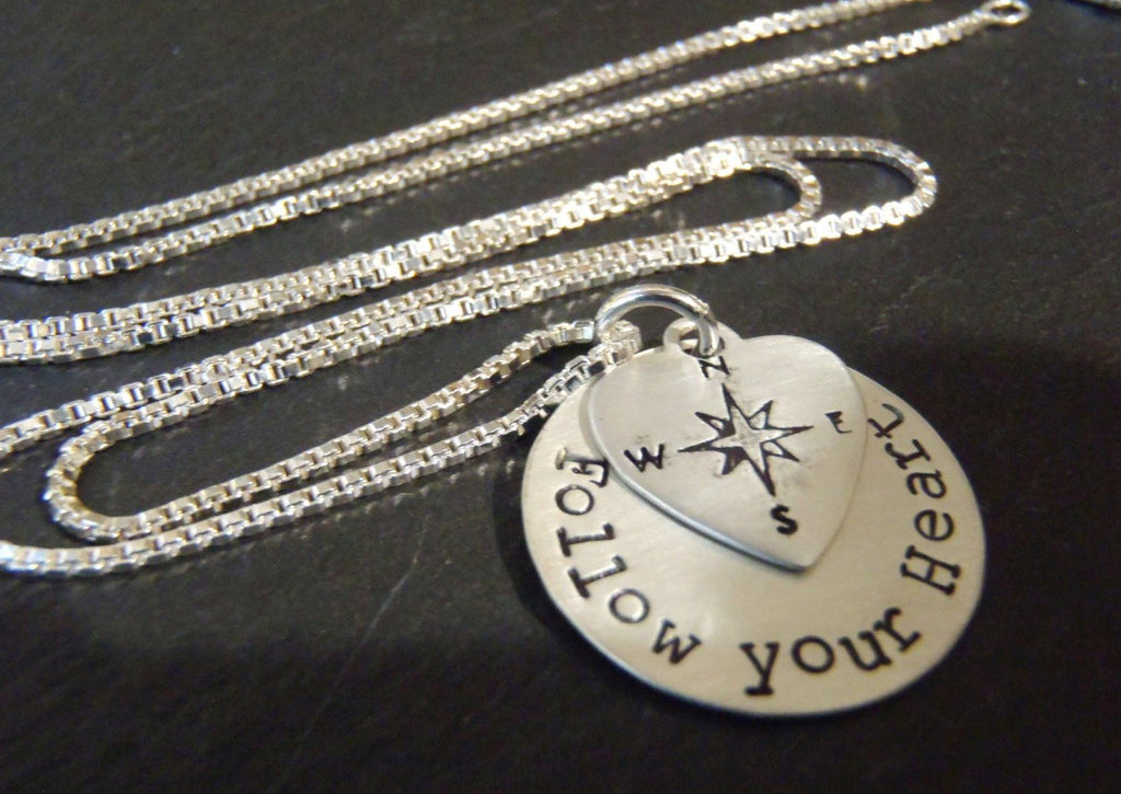 Sterling silver compass - Follow your heart necklace - Drake Designs Jewelry