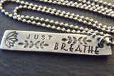 Just Breathe inspirational bar necklace - Drake Designs Jewelry
