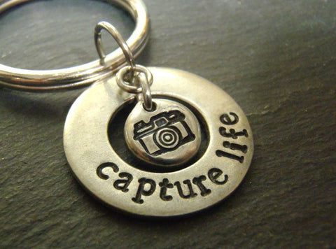 Photographer gift capture life keychain photography gifts - Drake Designs Jewelry