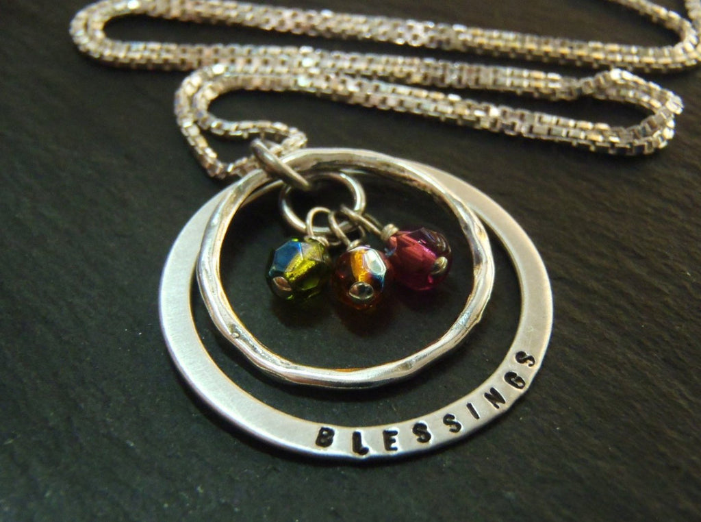 Sterling silver grandmother birthstone Necklace personalized mothers necklace with birthstones BLESSINGS - Drake Designs Jewelry