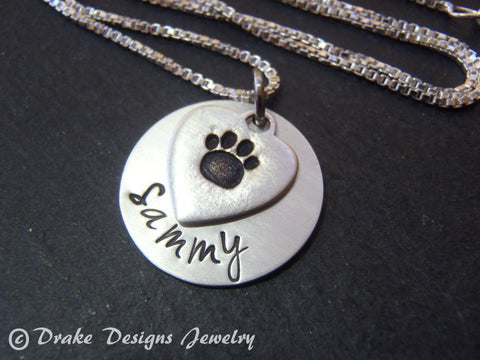 Sterling silver personalized pet memorial necklace dog pawprint necklace - Drake Designs Jewelry