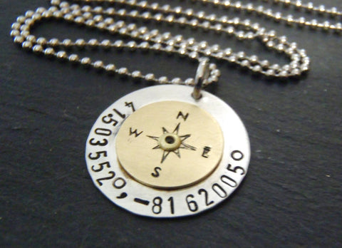 Personalized custom coordinate compass necklace - Latitude longitude jewelry - Drake Designs Jewelry