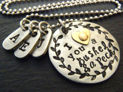 I love you a bushel and a peck necklace personalized for grandma or mom - Drake Designs Jewelry