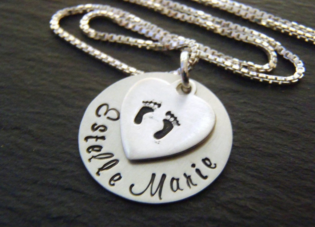 Sterling Silver footprint necklace for mom personalized new baby gift - Drake Designs Jewelry