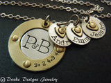 Sterling silver Family necklace with kids' names - gift for wife - Drake Designs Jewelry