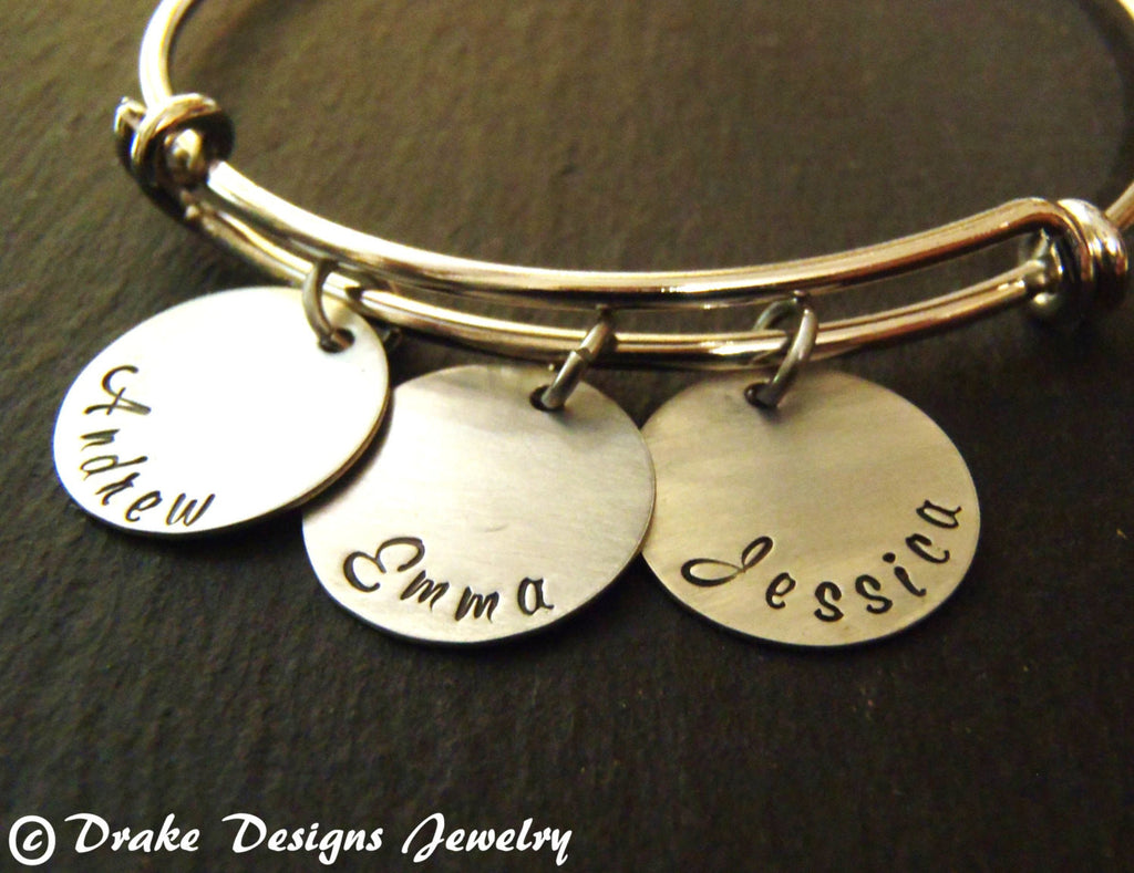 Wife gift personalized custom name mom bangle bracelet - Drake Designs Jewelry