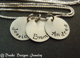 Sterling silver Mother's necklace personalized with names for mom - Drake Designs Jewelry