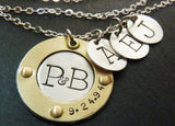 Sterling silver mixed metal mom necklace personalized with family initials and anniversary date - Drake Designs Jewelry