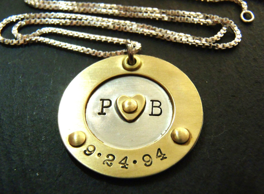 personalized Anniversary gift for wife - hand stamped initials and anniversary date necklace - Drake Designs Jewelry