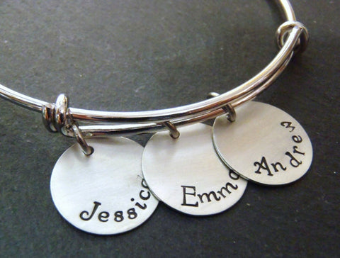 Mother's bangle bracelet with kids' names - Drake Designs Jewelry