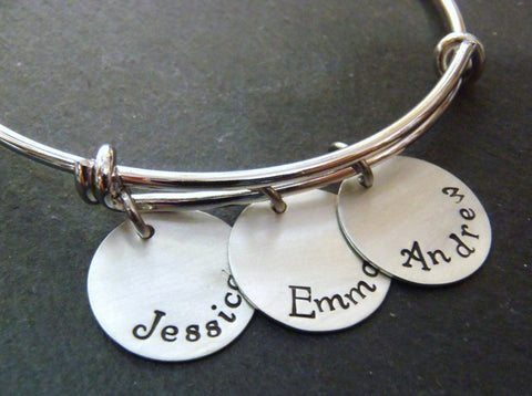 personalized mom bracelet with kid's names - hand stamped adjustable bange bracelet - Drake Designs Jewelry