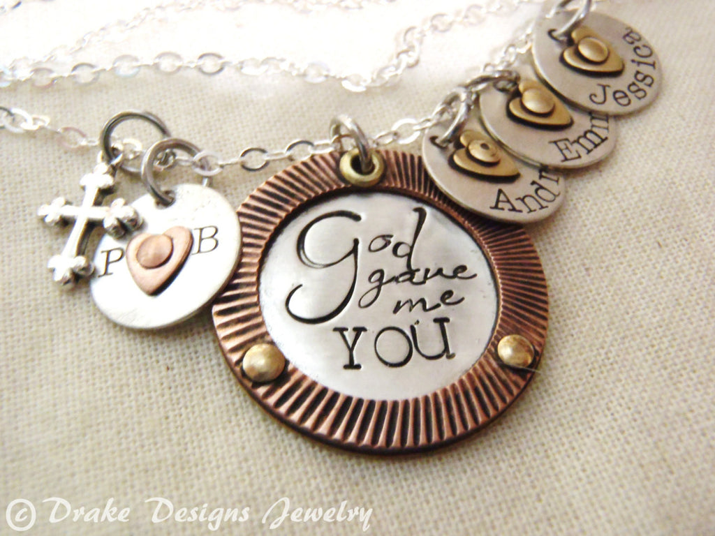 wife gift Family necklace God gave me you hand stamped personalized necklace - Drake Designs Jewelry