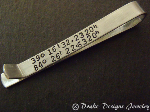 tie bar personalized with custom coordinates GPS latitude longitude Men's Tie Clip with secret Message - Drake Designs Jewelry