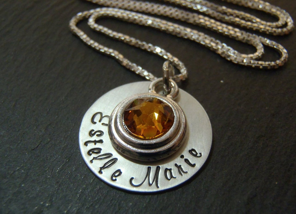 New baby necklace personalized mommy jewelry with baby name and birthstone - Drake Designs Jewelry