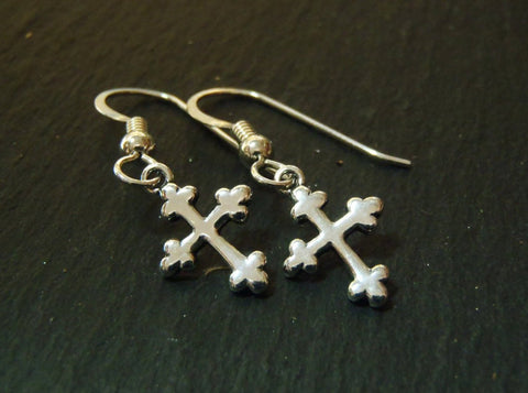Sterling Silver cross tiny dangle earrings - Drake Designs Jewelry