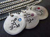 Mothers necklace with kid's initials and birthstones personalized and hand stamped - Drake Designs Jewelry