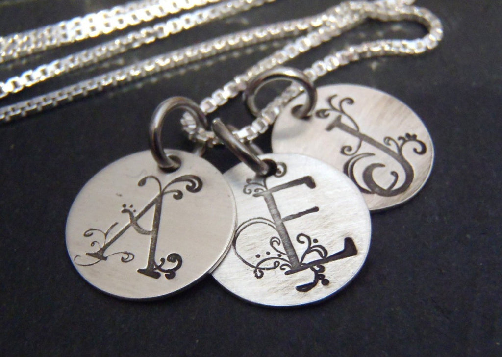 Sterling silver initial necklace for mom Personalize with custom initials - Drake Designs Jewelry