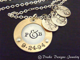 Mother's silver and gold necklace with children's initials - mixed metal sterling silver and 14k gold fill - Drake Designs Jewelry
