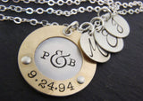 Personalized mixed metal Mother's Necklace with children's initials - Drake Designs Jewelry