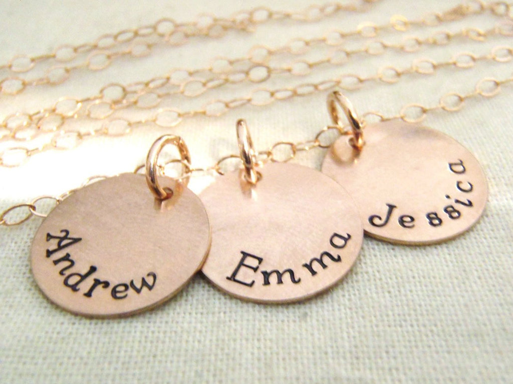 rose gold mom necklace with kid's names 14k gold fill - Drake Designs Jewelry